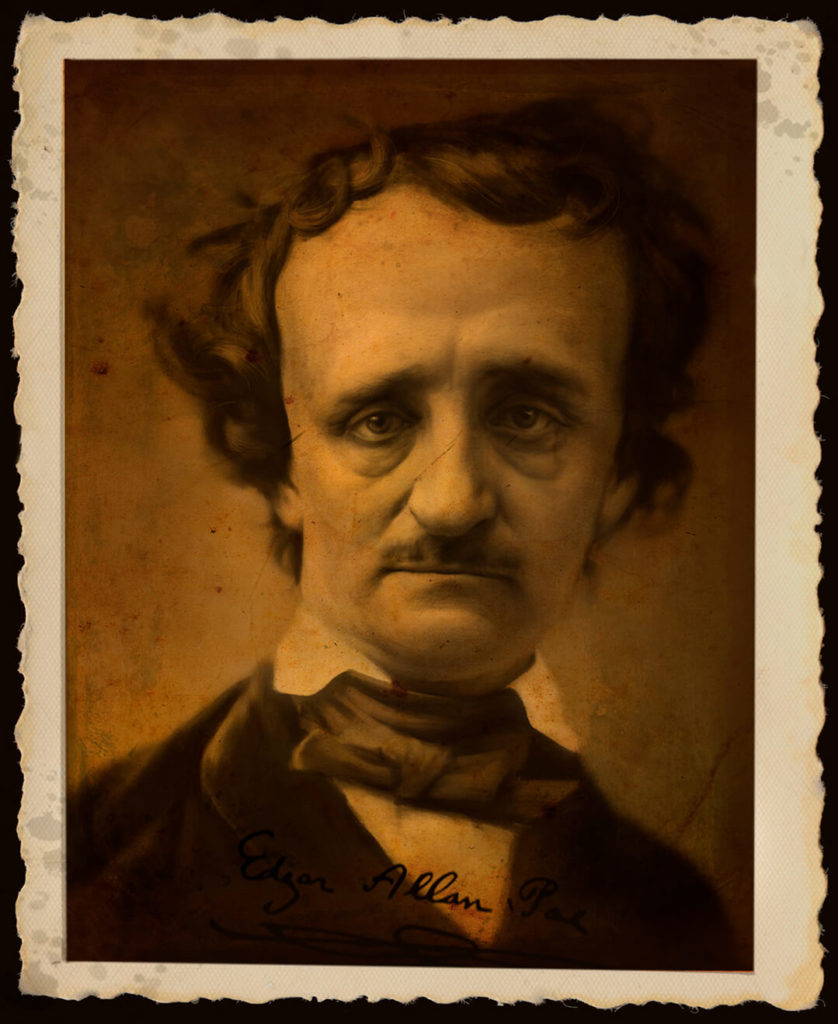 Caricatura Dibujo pintura digital Edgar Allan Poe| Diego Catalan Amilivia Dibujante Pintor