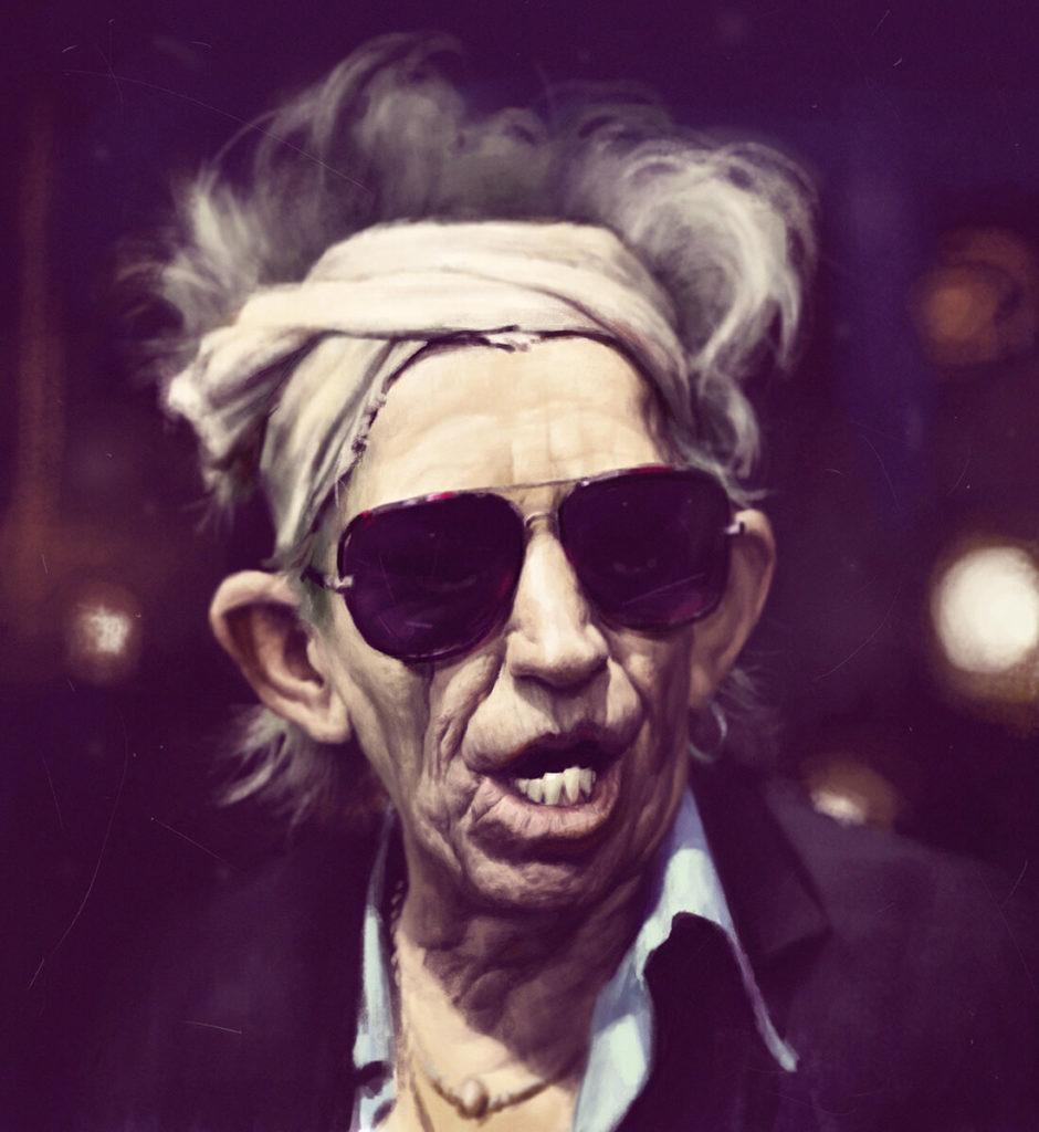 Caricatura Dibujo pintura digital Keith Rolling Stones | Diego Catalan Amilivia Dibujante Pintor